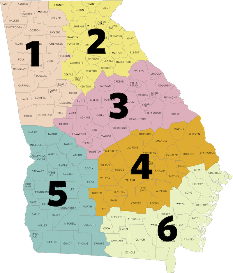 Map of Regions by Number