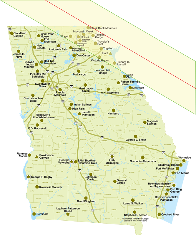 Map of Eclipse Over State Parks