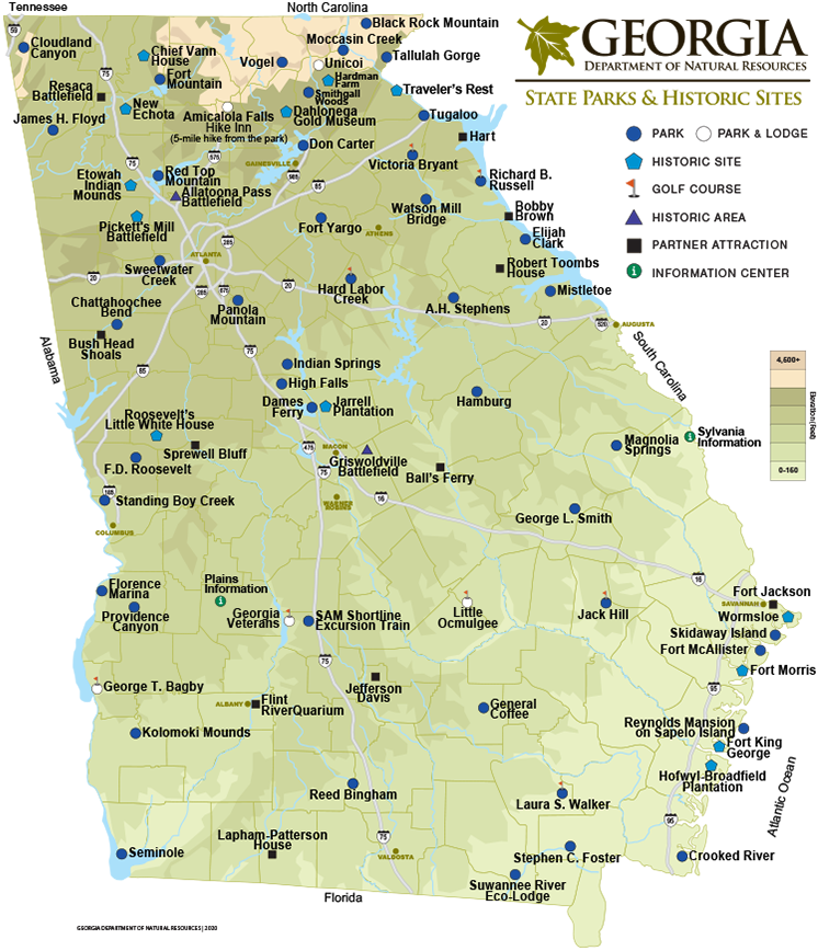 Georgia State Parks Historic Sites Map Department Of Natural Resources Division