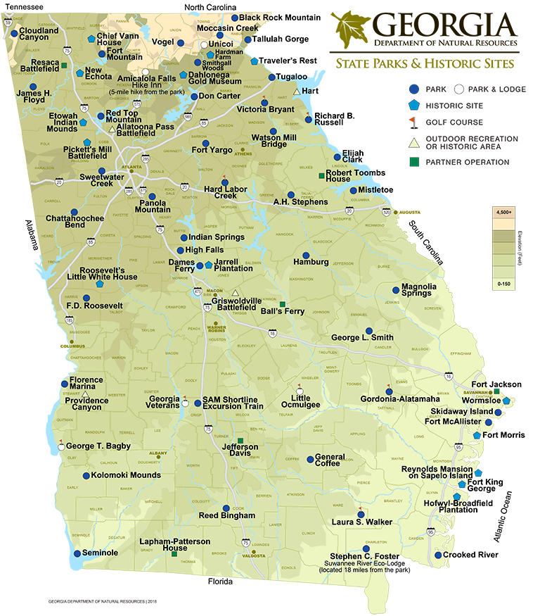 Georgia State Parks Historic Sites Map