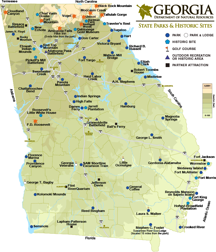 Map of Georgia State Parks & Historic Sites