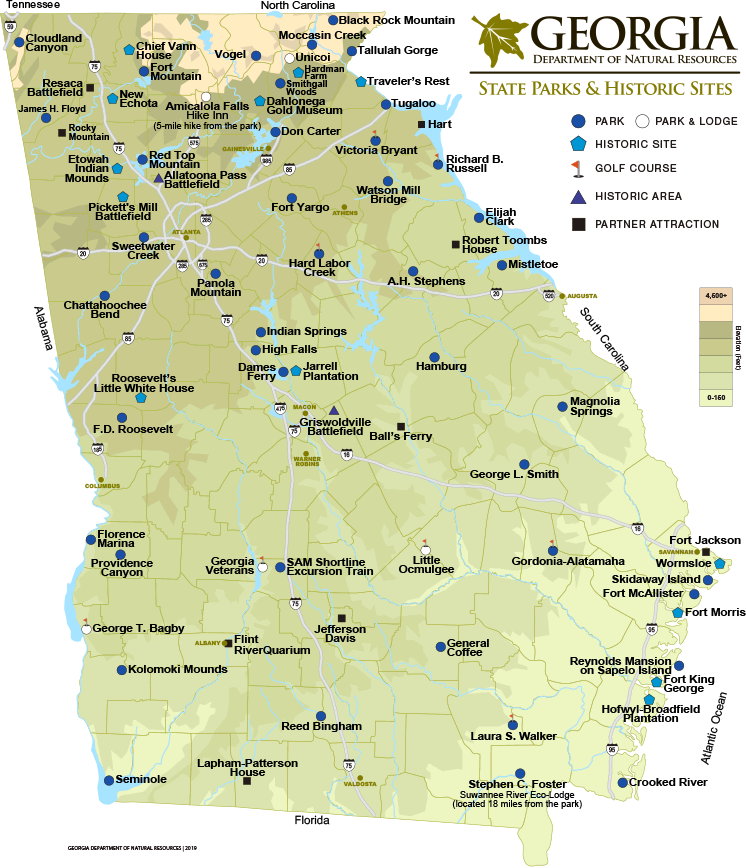 Map Of Georgia Mountain Cities.Georgia State Parks Historic Sites Map Department Of Natural
