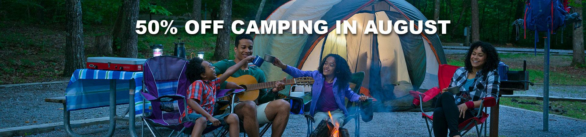 50% off camping in August
