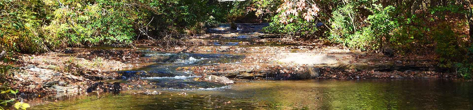 river flowing on rocks at Wilson Shoals Wildlife Management Area